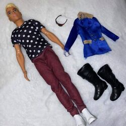 Ken Fashionista Doll 14 Polka Dot Barbie With Extra Boots Jacket Glasses