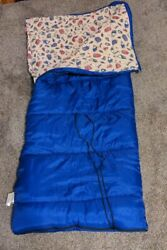 Vtg Coleman Sleeping Bag Blue W/ Flannel Lining Graphic Print Camping Gear Tents