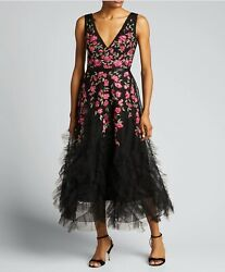 marchesa notte embroidery black evening gown cocktail long dress $485.00
