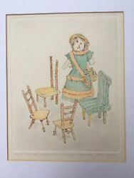 Signed Original Watercolour And Etching Gillian Whaite Childs Doll And 4 Chairs