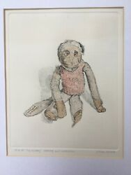 Signed Original Watercolour And Etching Gillian Whaite Childs Toy Monkey Doll