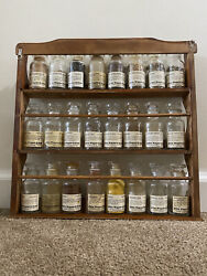 Vintage 70s John Wagner Sons Wood Wall Spice Rack 24 Glass Jars Mcm Apothocary