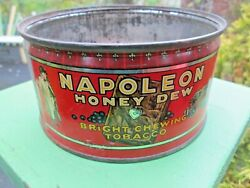 Napoleon Honey Dew Chewing Tobacco Tin Litho Can Cannon Vintage Canada