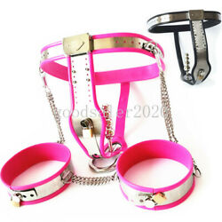 Stainless Steel Chastity Belt+thigh Rings+plug Female Chastity Underpants Device