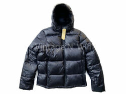 Abercrombie Fitch Mens Black Shine Insulated Hooded Lightweight Puffer Jacket
