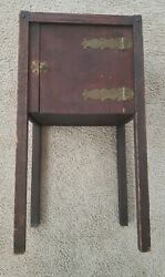 Antique Stickley Era Mission Oak Arts And Crafts Smoking Stand Table Brass Hinges