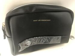 WANT LES ESSENTIELS Travel Cosmetic Black Leather Toiletry Bag Pouch $6.00