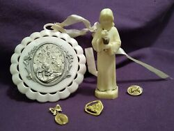 Vintage Religious 5pc Lot C.1973 Cake Topper First Communion And 2 Lapel Pins For