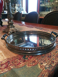 Antique Eureka Silver Company Silver Plated 10 Mirrored Handled Gallery Tray