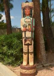 6 Ft Cigar Store Indian Chief Scout W Turquoise Robe And Tomahawk, Frank Gallagher