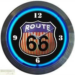 Route 66 Highway Car Auto Truck 15 Neon Wall Clock Glass Face Chrome Case New