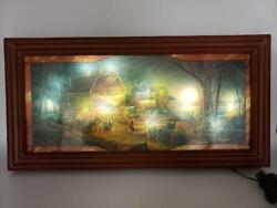 Terry Redlin Harvest Moon Ball Stained Glass Panorama Bradford Lighted Wall Art