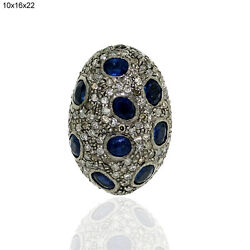 4.47ct Blue Sapphire Diamond .925 Sterling Silver Bead Spacer Finding Jewelry