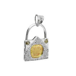 Antique Lock Charm Pendant Pave Diamond 14k White Gold Jewelry For Gift
