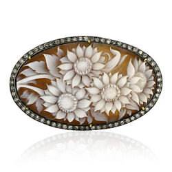 Pave Diamond Cameos Floral Design Spacer 18k Gold 925 Sterling Silver Finding