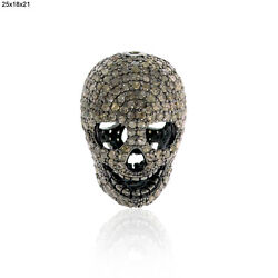 6.87ct Pave Diamond Halloween Skull Spacer Finding .925 Sterling Silver Jewelry