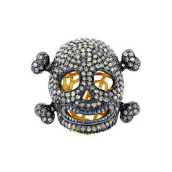 Pave Diamond 18k Gold 925 Sterling Silver Skull Spacer Finding Halloween Jewelry