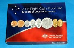 Australia 2006 40 Years Of Decimal Currency Proof Set With 1and2 And Silver 50 Cent
