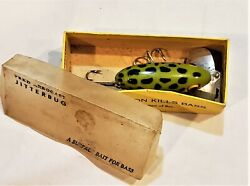 Vintage Wooden Lure Fred Arbogast Jitterbug Green Frog Spotted W/box Ex Paint