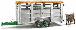 Bruder Toys New Toy Livestock Cattle Trailer With One Cow 116 Scale Bdr02227