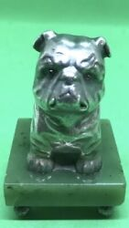 Antique Russian Solid Silver Nephrite Jade British Bulldog Ruby Eyes Marked Ip
