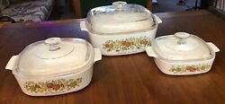 Vintage Spice Of Life - Corning Ware, 3pc Set With Lids, Very Good