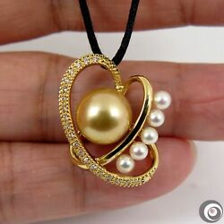 18k Solid Gold Diamond Pendant With Akoya Pearls And Golden South Sea Pearl P5485