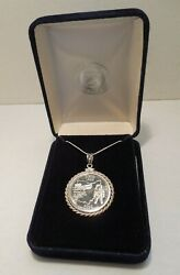 2002-p State Of Ohio Quarter Set In Sterling Silver Rope Bezel Pendant W/ Box