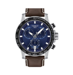 Tissot Supersport Chrono Blue Dial Brown Leather Watch T1256171604100