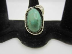 Vintage Navajo Sterling Silver And Turquoise Ring Signed Jb Feather Size 7