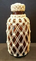 Antique Apothecary Amber Glass Bottle W/cork Stopper And Mesh Rope Cover