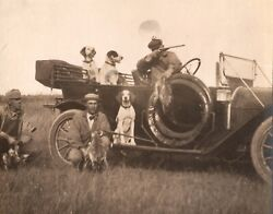 C1910 Rppc Pheasant Hunters Shotguns German Wirehaired Pointers Posing With Car