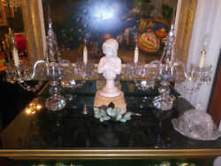 Magnificent Pair Vintage Crystal Glass Chandelier Candelabra Lamp With Prisms