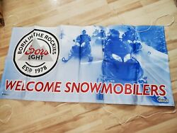 Coors Light Beer Welcome Snowmobilers Large Vinyl Banner New