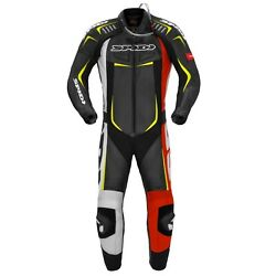 Spidi Gb Track Wind Pro Ce Armour Motorcycle Leather Race Suit Black Red Yellow