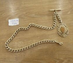 Good Antique Solid Sterling Silver Single Albert Pocket Watch Chain And Fob