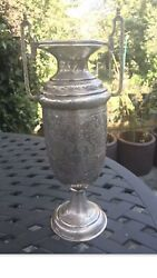 Antique 19th Century Islamic Arabic Solid Silver Carved Vase Or Trophy Cup