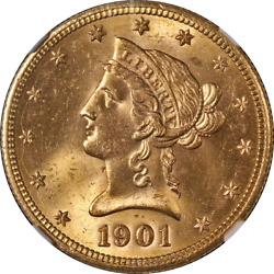 1901-s Liberty Gold 10 Ngc Ms64+ Cac Sticker Superb Eye Appeal Strong Strike