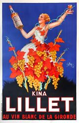 1937 Original Oversize French Art Deco Kina Lillet Poster Rare + Collectable