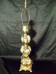 Beautiful Amber And Tan St Clair Table Lamp Indiana Paperweight Glass