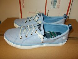 Nib Womens Sperry Top Sider Crest Vibe Linen Blue Canvas Sneakers New Sts84904