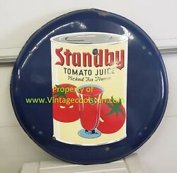 1930's Standby Tomato Juice 36 Round Porcelain Button Sign