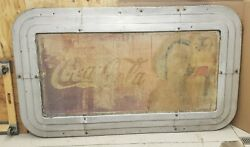Rare 1930and039s Coca-cola Art Deco Metal Frame With Faded Coke Sign 86 By 50