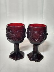 Avon Candle Holder Set - 1876 Cape Cod Collection Cranberry Glass - 1987