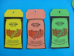 Lot Of 10 Nos Near Mint 1950and039s Vintage Pfister Seed Corn Old Cloth Bag Tag Sign