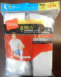 One Hanes Pack Of 6 Pair Mens Bigandtall Cushion Crew Socks White/grey Size 12-14
