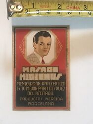 """Rare 1940s N.o.s.foreign """"dapper Dan"""" Perdue/hair Tonic Bottle Label Never Used"""