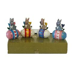 Vintage Lillian Vernon Wood Easter Egg Bunny And Tulip Place Card Holders Lv 9251