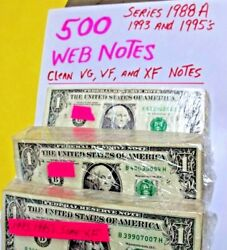 500 Rare Web Notes 1988a -1993and039s And 1995 Nice Circand039s Vg To Xf+++ - Free Ship