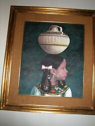 Original Mexican Painting 8 Girl With A Pot On Her Head